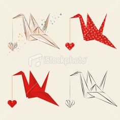 Origami Crane With Heart Royalty Free Stock Vector Art Illustration