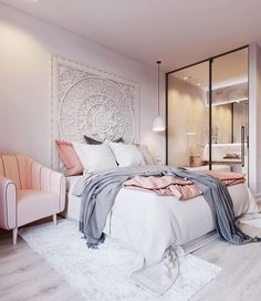 Pink accent in bedroom