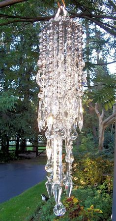 Luminous Waterfall Crystal Wind Chime by sheriscrystals on Etsy, Crystal Wind Chimes, Glass Wind Chimes, Diy Wind Chimes, Solar Light Crafts, Solar Lights, Canning Jar Lights, Outdoor Chandelier, Diy Chandelier, Hanging Crystals