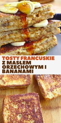 Nadziewane tosty francuskie z masłem orzechowym i bananami. Słodkie śniadanie w 10 minut. Kitchen Recipes, French Toast, Lunch Box, Food And Drink, Cooking, Breakfast, Pierogi, Projects, Kitchen