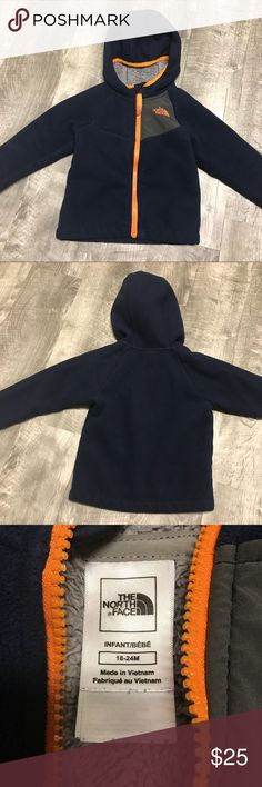 Toddler North Face Fleece Jacket The North Face Fleece Jacket. Infant/Toddler size 18-24 months. Navy blue, grey, and orange. Good used condition. Check out my closet for other namebrand items to bundle with to save 15% and combined shipping. The North Face Jackets & Coats