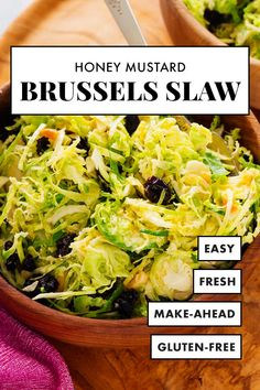 This simple Brussels sprout slaw will become one of your go-to side dishes! Its so good and so easy to make. #brusselssprouts #slawrecipe #healthyrecipe #sidedish #cookieandkate