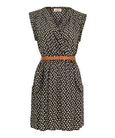 Black Mini Leaf Wrap Dress