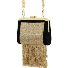 BALMAIN The Day Beaded Velvet Clutch ($3,295) ❤ liked on Polyvore featuring bags, handbags, clutches, beaded handbag, fringe handbags, brown handbags, chain strap handbag and clasp purse
