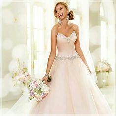 Light pink wedding dress!  Love this!