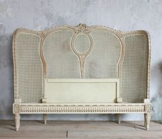 Vintage Romantic French Style Shabby Chic Floral Cane Queen Bed