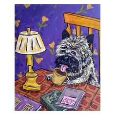 Cairn Terrier at the Coffee Shop Dog Art Print 8x10 by lulunjay, $12.49