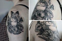 Fox + Flower Tattoo