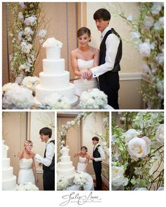 Bride and groom cake cutting under a beautiful arch of peonies and orchids.  Flowers by Boukates. @Boukates   Katie Loyd   #weddingarch #cakecuting #wedding #photography #julieannephoto
