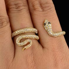 And for the family party: DESCRIPTION:  Thank you for coming in! Gorgeous 18K solid yellow gold two finger snake ring with white and black diamond and beautiful micro-pave