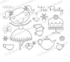 tea party embroidery applique
