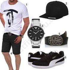 Schwarz-Weißer Herren-Look mit Armani Uhr (m0442) #outfit #style #fashion #menswear #mensfashion #inspiration #shirt #cloth #clothing #männermode #herrenmode #shirt #mode #styling #sneaker #menstyle