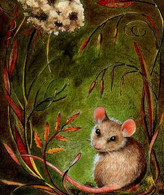 How sweet!!!  I wish I was this talented. . . . . . . . Set of Ten Cute Fall Mouse Post Cards Wrapped in by MelodyLeaLamb, $10.00
