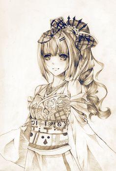 ✮ ANIME ART ✮ anime girl. . .kimono. . .obi. . .hair bow. . .ponytail. . .hair decoration. . .smile. . .pencil. . .graphite drawing. . .shading. . .amazing detail. . .cute. . .kawaii