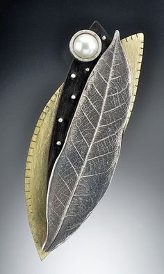 Brooch | Suzanne Linquist (Red Circle Metals). Silver leaf, ebony, pearl and brass