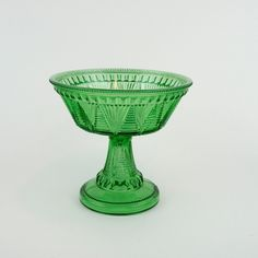 Antique McKee Adonis - Washboard Footed Compote, Apple Green, Vintage 1897, Victorian Serving Bowl, Christmas Decorating Piece, Hard to Find by LiliesLegacies on Etsy