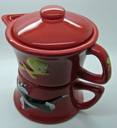 Tweety & Sylvester Teapot For One Tea Red Ceramic Warner Bros Looney Tunes  #TINEX