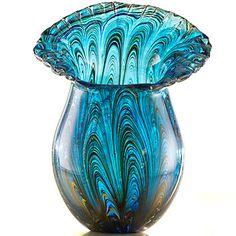 """Peacock Art Glass 10"""" Vase"""