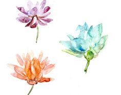 Set of 3 Lotus Flower Watercolor paintings = FIne Art Prints - Purple orange Aqua Blue Green Lotus Art Buddhism Zen Flowers Meditation