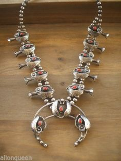 Signed Vintage NAVAJO Sterling Silver & Coral SQUASH BLOSSOM NECKLACE, Timmy Thompson