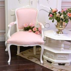 Single Pink Linen Armchair