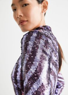 Fitted Sequin Mini Dress - Purple Sequins - Mini dresses - & Other Stories GB