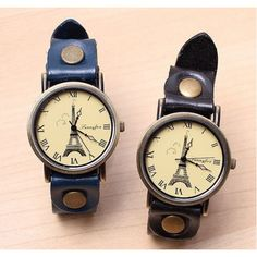 The France Tower genuine leather couple watches