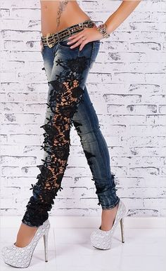 Aufregende Röhren Jeanshose mit Spitze | Jeans | All Styles | Angies Glamour Fashion – Sexy Kleider – Minikleider – Clubwear