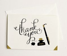 Ink and Blots Thank You Card 1pc. $3.75, via Etsy.