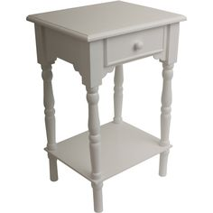 A charming side table that harmoniously combines traditional design with a modern finish. The turned legs and scalloped accents are feminine and traditional with a neutral, crisp white finish. A single drawer and lower shelf makes this practical accent table. Place one next to your bed, sofa or even to spruce up the home office. Constructed of solids and MDF for optimal durability. -- To view further for this item, visit the image link.