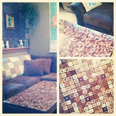 Fantastic Scrabble tile table top that my awesome daughter made.