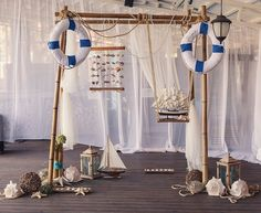 nautical decor for the wedding reception - decorated arch