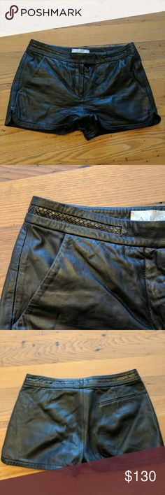 ALC black leather shirts with braided detail sz 6 In great condition! Leather is buttery soft. Just a little short for me :) true to size. A.L.C. Shorts