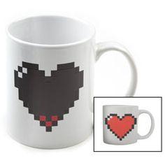 Pixel Heart Morph Mug - the heart fills up with hot beverage!
