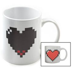 Pixel Heart Morph Mug - When filled with a hot drink, the heart fills up!  $7.99