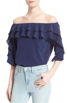 L'AGENCE 'Monroe' Ruffled Off the Shoulder Blouse