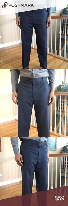 0cd2c9014d9891 Zanella Flat Front Wool Blue Italian Dress Pants Made in Italy. Zanella  flat front Wool
