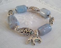 Blue Lace Agates with silver plated spacers by KayouBijouDesigns, $45.00