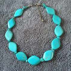 Fun chunky Turquoise necklace This is a fun little chunky fake turquoise necklace! In near perfect condition. Would be an adorable addition to anyone's jewelry box! At shortest length 16.5 inches, at longest length 19 inches. Thank you for checking out my closet and happy poshing! Jewelry Necklaces