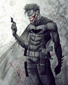 "How would you name that Batman-Joker fusion? 🤔❤️ Best caption wins a story shoutout! __ (Don't go the easy route saying ""Bat-Joker"" 😏) Batwoman, Nightwing, Batgirl, Batman Painting, Batman Artwork, Batman Wallpaper, Joker Comic, Joker Pics, Joker Art"