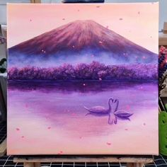 Easy Sunset Painting with Swans, Step by Step tutorial - Art Sketches Canvas Painting Tutorials, Diy Canvas Art, Acrylic Painting Canvas, Painting Videos, Swan Painting, Art Painting Gallery, Art Drawings, Marvel Drawings, Art Sketches