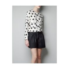 Buy Stylish Dot Long Sleeve Blouse Black with cheapest... via Polyvore