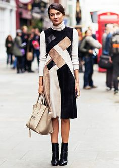 Leila Yavari keeps it classy in this knee-length suede and leather patchwork dress