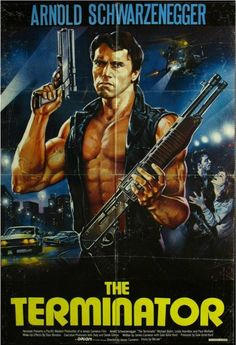 The Terminator with Arnold Schwarzenegger, Michael Biehn and Linda Hamilton. Written and Directed by academy award Winner James Cameron. One of his best works of the -Watch Free Latest Movies Online on Action Movie Poster, 80s Movie Posters, Classic Movie Posters, Cinema Posters, Movie Poster Art, Sci Fi Movies, Action Movies, Classic Movies, Terminator 1984