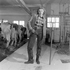Farm girl swagger and style - 1947.  A real cow girl :]