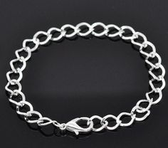 "DoreenBeads Silver Plated Lobster Clasp Link Chain Bracelets 20cm(7-7/8""), sold per pack of 12 pieces (B14183)"