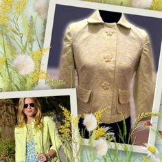 💐BEAUTIFUL FLOWER PATTERNED BLAZER💐JACKET Delicate and dainty, sums this beauty up.. Pretty faint flower print in pale lime green and white, with adorable flower buttons. A truly rare unique piece for your wardrobe 💐3/4 sleeves.   HIC-1 Bernardo Jackets & Coats Blazers