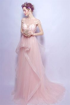 Shop affordable blush ball-gown scoop neck sweep train tulle wedding dress with beading online. Custom-made any size or color. Cheap Party Dresses, Prom Dresses For Sale, Party Gowns, Wedding Party Dresses, Homecoming Dresses, Evening Dresses, Blush Pink Prom Dresses, Straps Prom Dresses, Bridesmaid Dresses