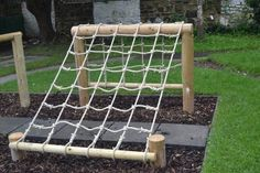 A scramble net as part of an outdoor obstacle course!