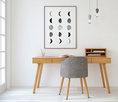 Browse pictures of home office design. Here are our favorite home office ideas that let you work from home. Shared them so you can learn how to work. Home Office Design, Office Decor, Bureau Open Space, Desk Space, Home Office Inspiration, Geometric Wall Art, Modern Wall Art, Modern Decor, Office Interiors